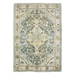 Midcentury Handmade Persian Small Rug in Slate Blue, Sand and Nude