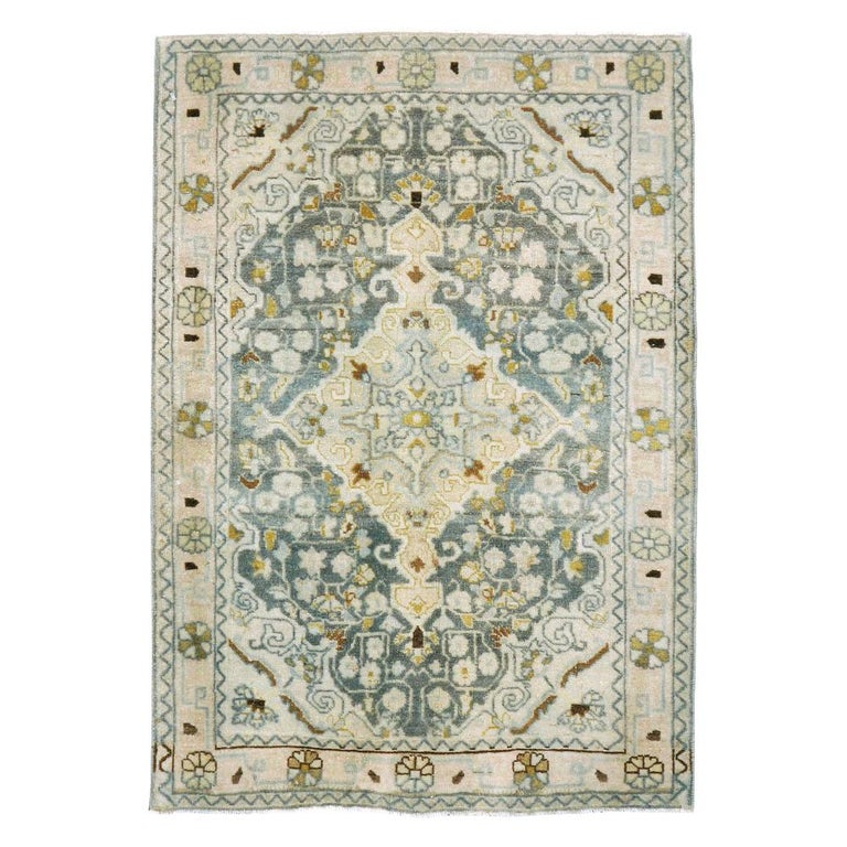 Midcentury Handmade Persian Small Rug in Slate Blue, Sand and Nude For Sale