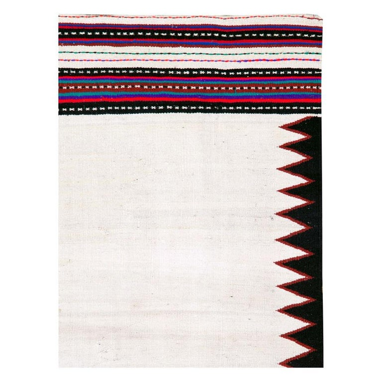 Hand-Woven Midcentury Handmade Persian Tribal Kilim Rug in White, Black and Red For Sale