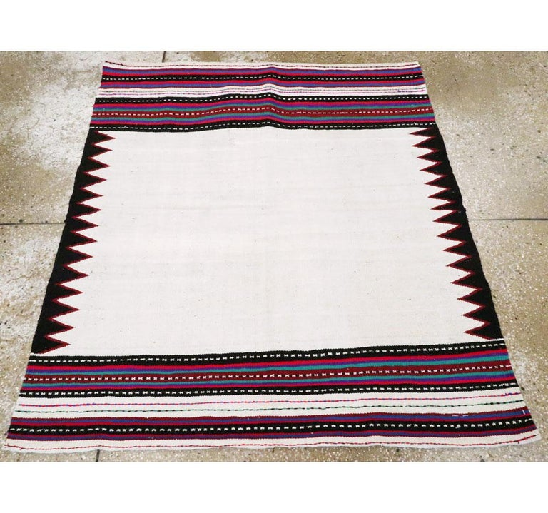 Midcentury Handmade Persian Tribal Kilim Rug in White, Black and Red In Good Condition For Sale In New York, NY