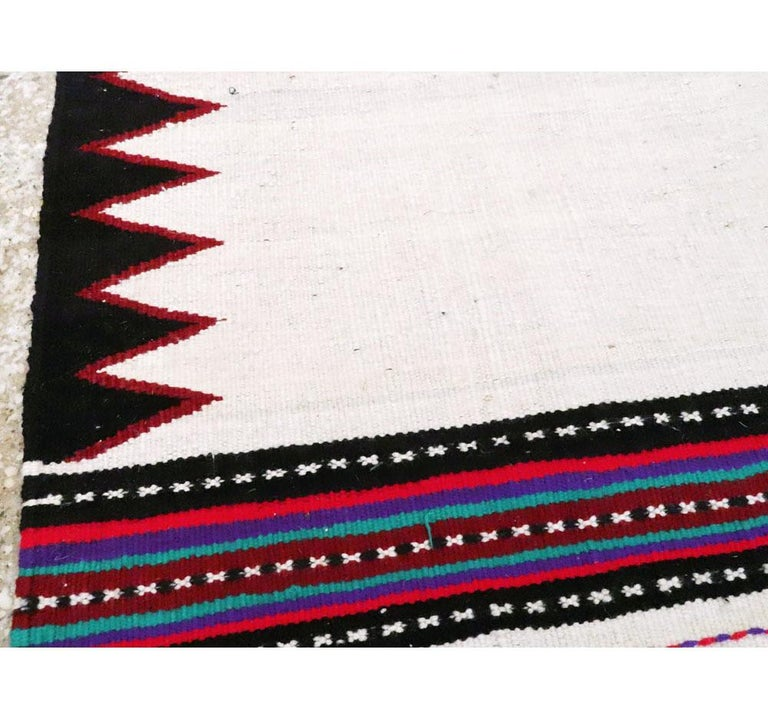 20th Century Midcentury Handmade Persian Tribal Kilim Rug in White, Black and Red For Sale