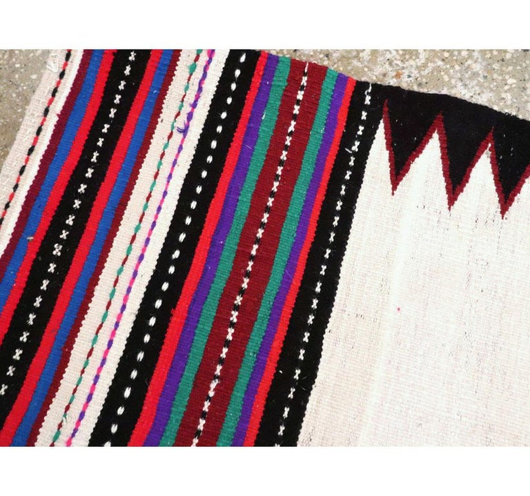 Wool Midcentury Handmade Persian Tribal Kilim Rug in White, Black and Red For Sale