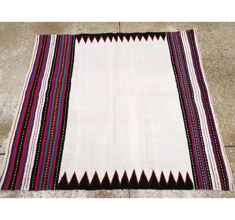 Midcentury Handmade Persian Tribal Kilim Rug in White, Black and Red For Sale 1