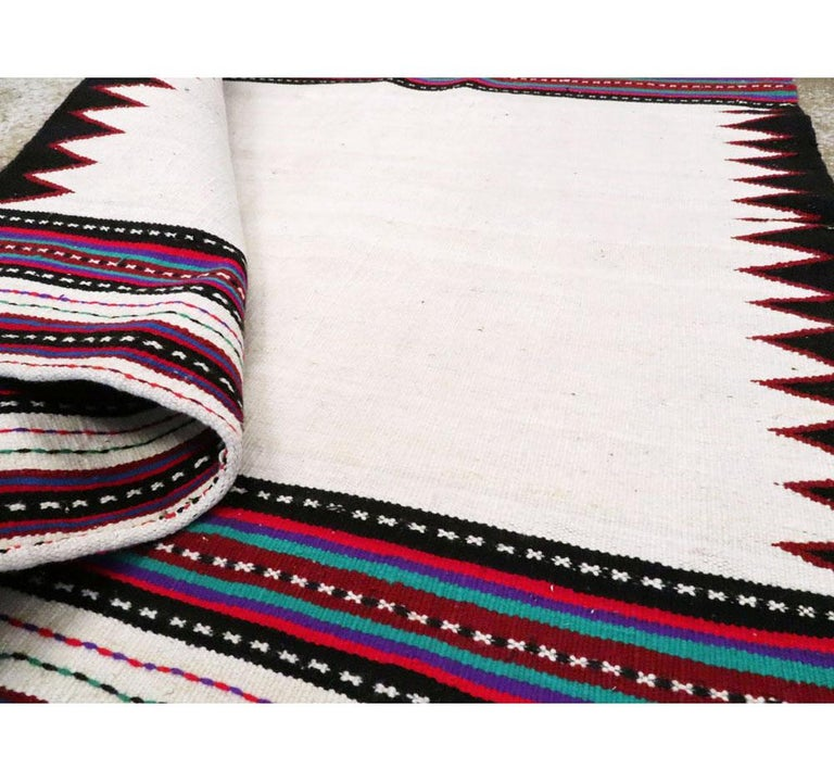 Midcentury Handmade Persian Tribal Kilim Rug in White, Black and Red For Sale 2