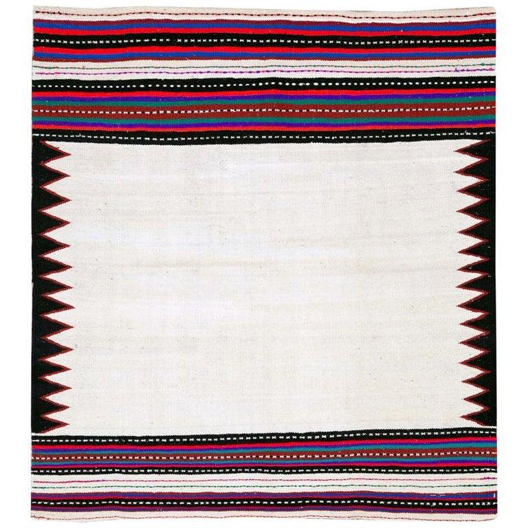 Midcentury Handmade Persian Tribal Kilim Rug in White, Black and Red For Sale