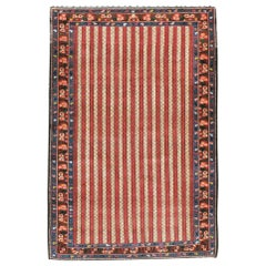 Midcentury Handmade Persian Tribal Rug in Red, Ivory, and Blue