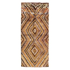 Mid-Century Handmade Tulu Runner Rug with Checkered Design, 100% Wool