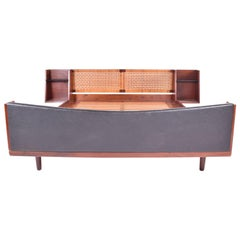 Midcentury Hans J Wegner Double Master Bed with Teak and Rattan