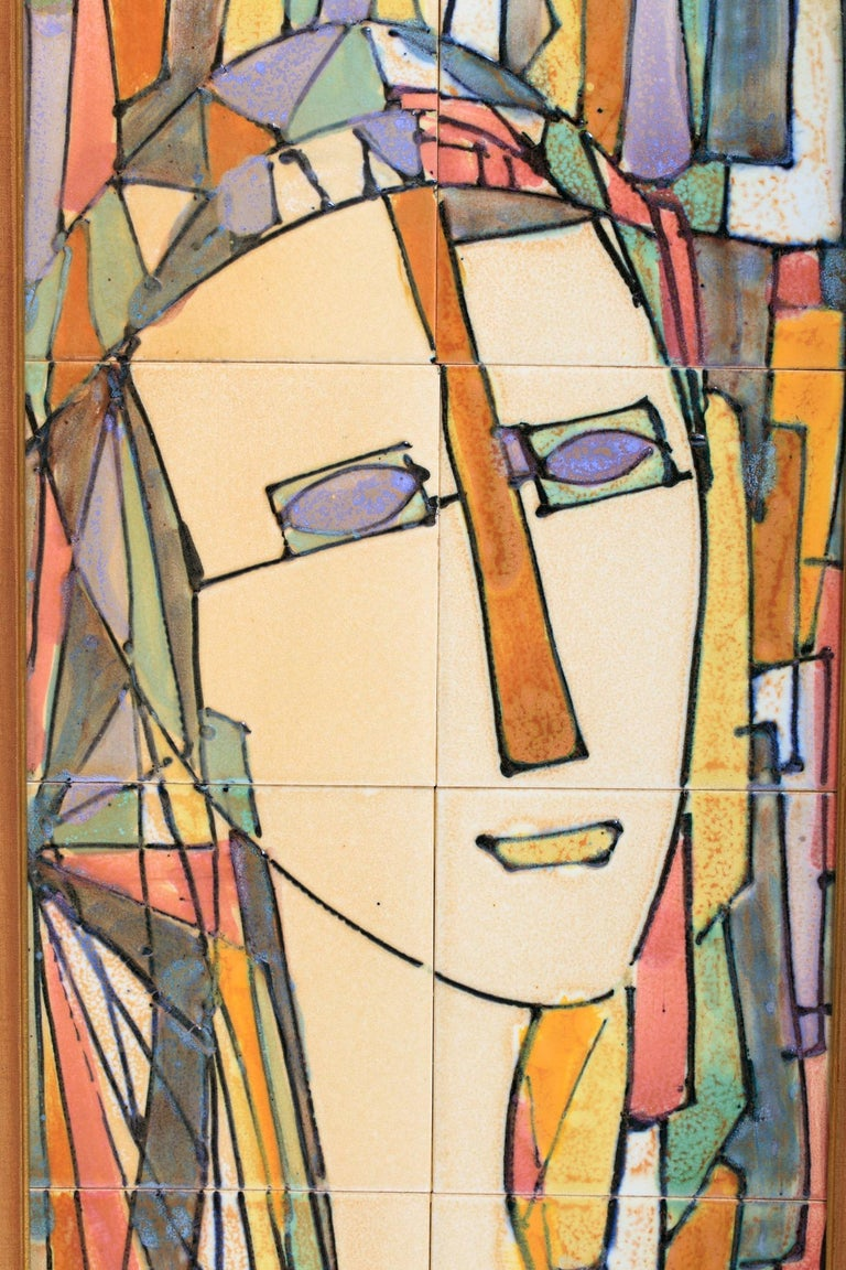 Mid-Century Modern Midcentury Harris Strong Cubist Ceramic Tile Portrait of a Lady