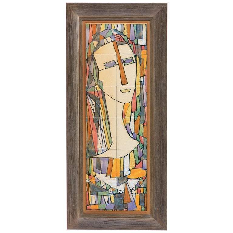 Midcentury Harris Strong Cubist Ceramic Tile Portrait of a Lady