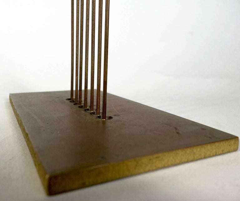 Midcentury Harry Bertoia Sonambient sculpture featuring seven black monel