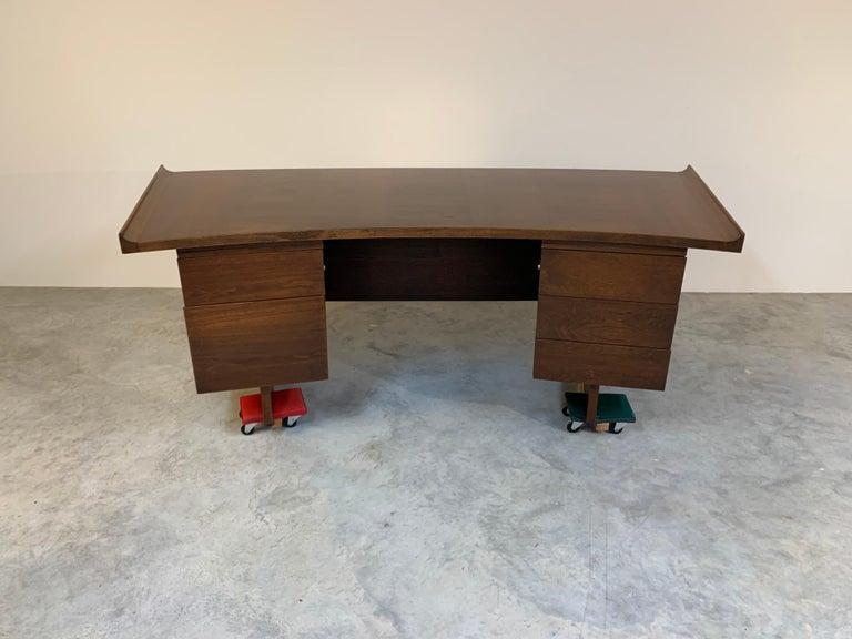 American Midcentury Harvey Probber Executive Desk in Walnut