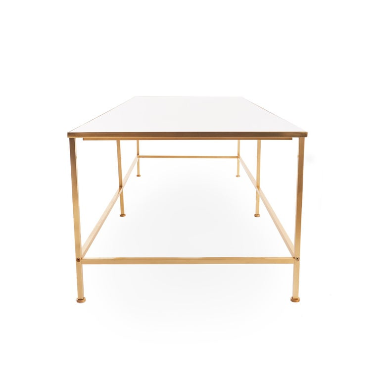 Mid-Century Modern Midcentury Vitrolite and Brass Coffee Table For Sale