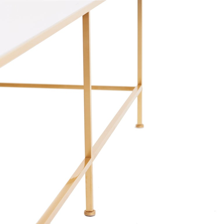 American Midcentury Vitrolite and Brass Coffee Table For Sale