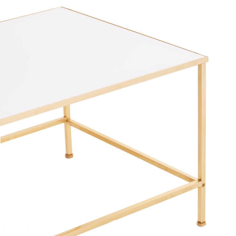 Midcentury Vitrolite and Brass Coffee Table In Fair Condition For Sale In Chicago, IL