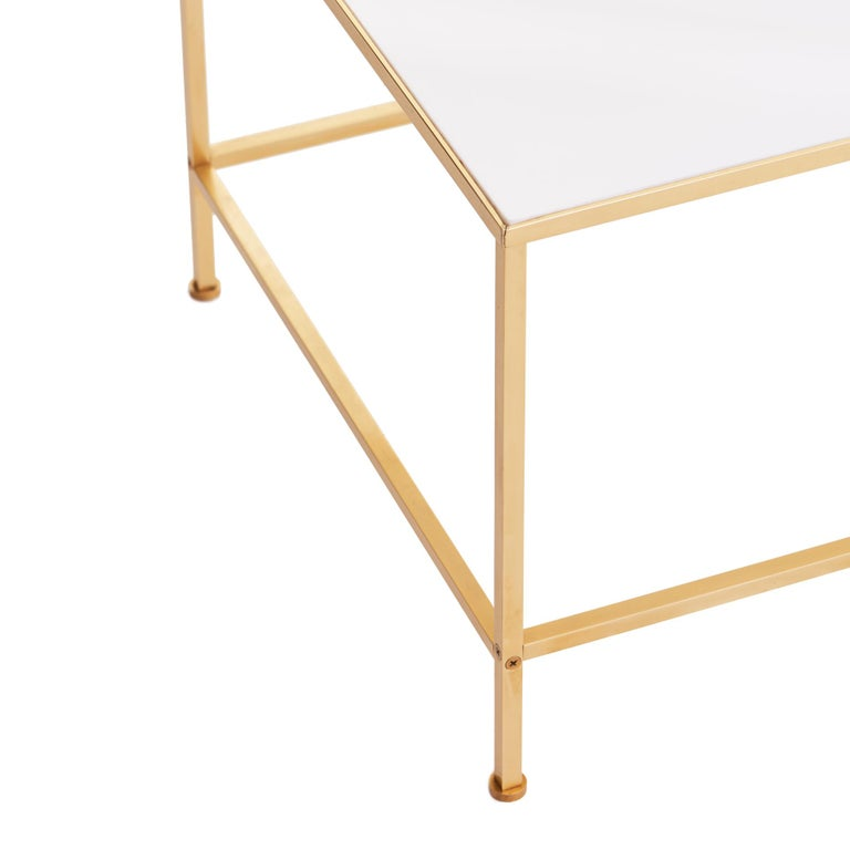 Mid-20th Century Midcentury Vitrolite and Brass Coffee Table For Sale