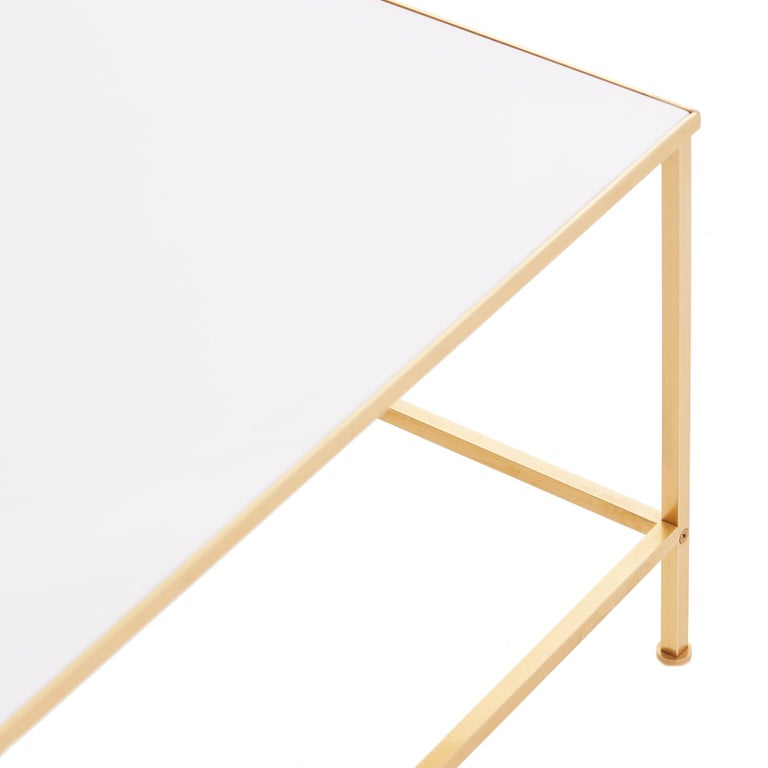 Midcentury Vitrolite and Brass Coffee Table For Sale 1