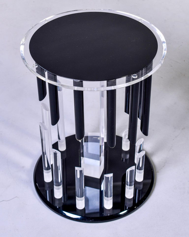 Midcentury Haziza Clear and Black Lucite Side Table For Sale 5