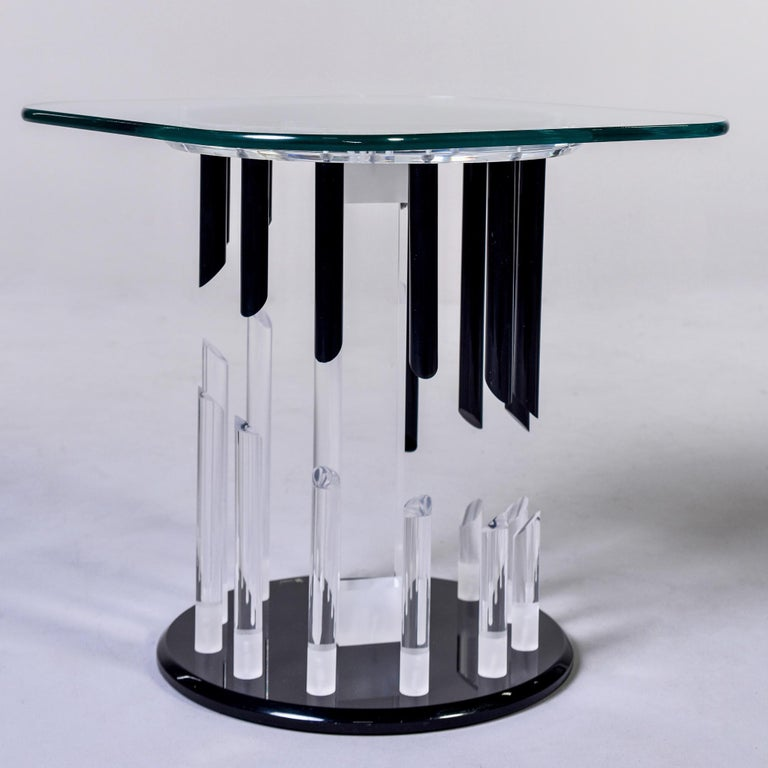Mid-Century Modern Midcentury Haziza Clear and Black Lucite Side Table For Sale