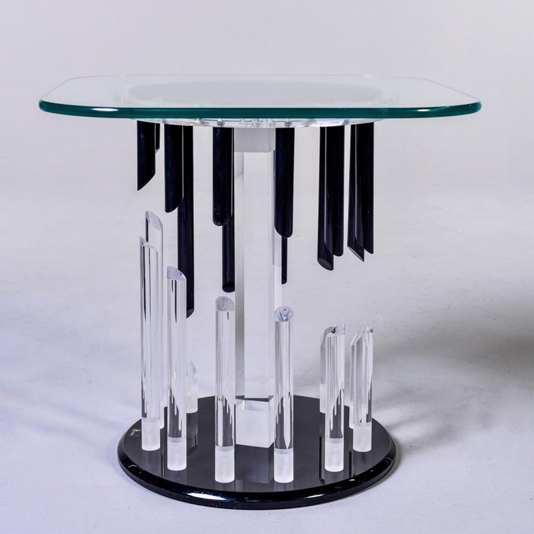 American Midcentury Haziza Clear and Black Lucite Side Table For Sale