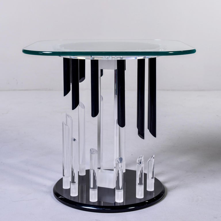 20th Century Midcentury Haziza Clear and Black Lucite Side Table For Sale