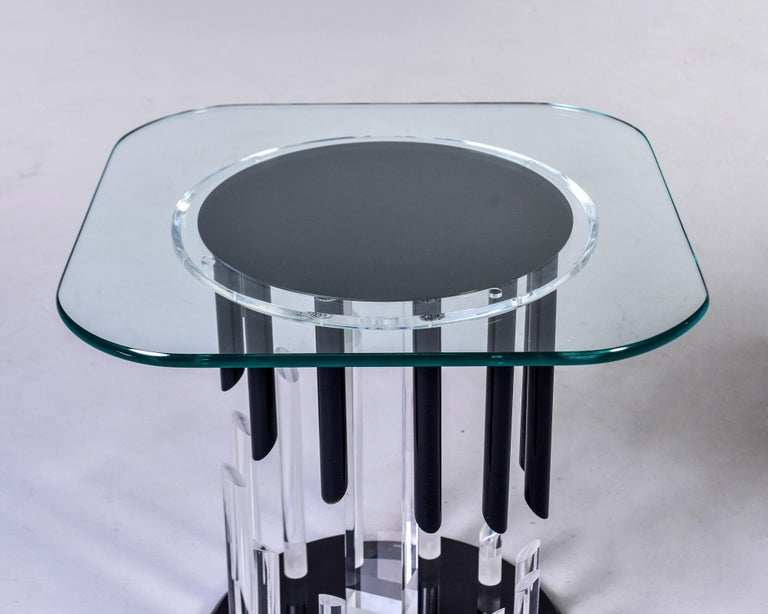 Glass Midcentury Haziza Clear and Black Lucite Side Table For Sale