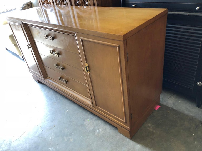 Mid-20th Century Mid Century Bernhardt Credenza or Dresser with Greek Key Handles For Sale