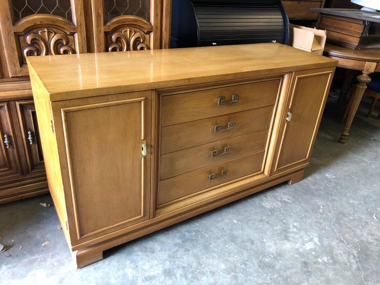Mid Century Bernhardt Credenza or Dresser with Greek Key Handles For Sale 1