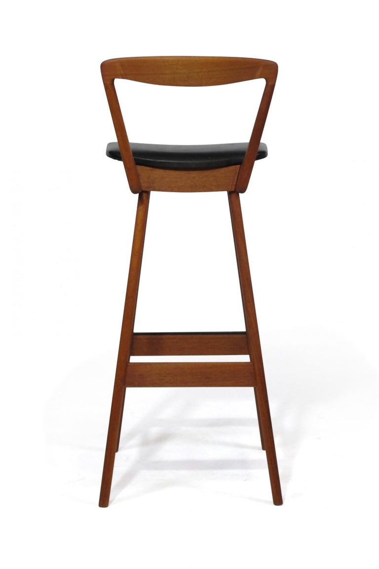Midcentury Henry Rosengren Hansen Teak Barstools In Good Condition For Sale In Berkeley, CA