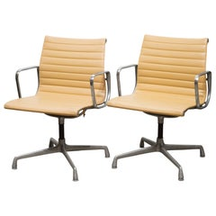 Midcentury Herman Miller EA108 Leather Office Management Chairs, circa 1960