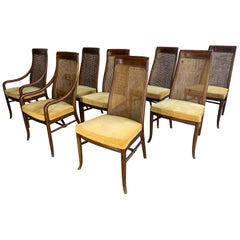 Midcentury High Back Cane Dining Chairs by Drexel