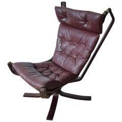 Midcentury High Back Danish Falcon Chair, 1970s