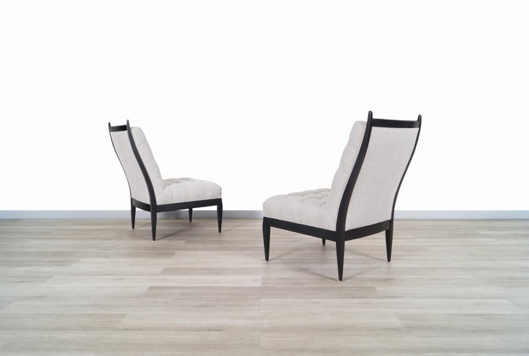 Mid-Century Modern Mid Century High Back Slipper Chairs by Monteverdi Young For Sale
