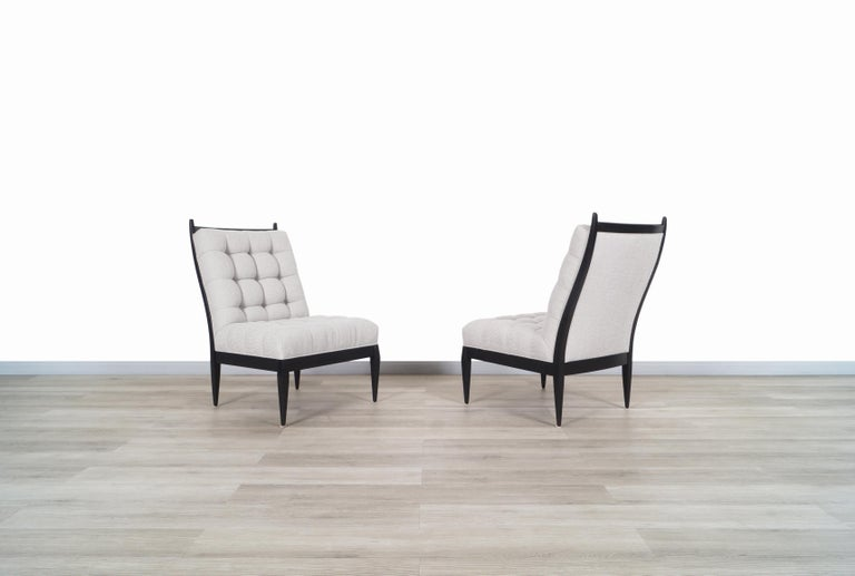 American Mid Century High Back Slipper Chairs by Monteverdi Young For Sale