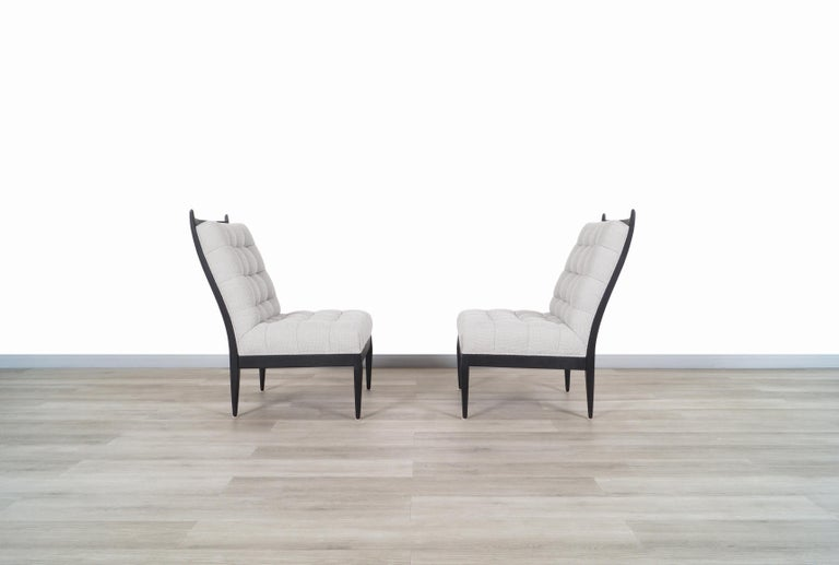 Mid Century High Back Slipper Chairs by Monteverdi Young In Excellent Condition For Sale In Burbank, CA