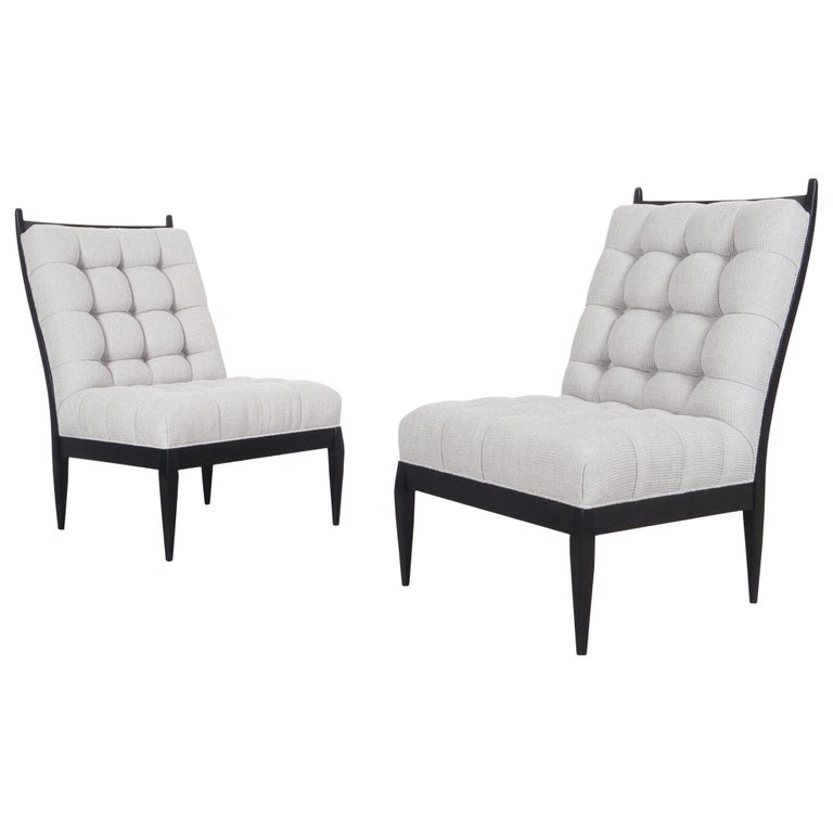 Mid Century High Back Slipper Chairs by Monteverdi Young For Sale