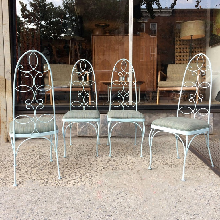 Mid-Century Modern Mid Century High Back Wrought Iron Patio Garden Dining Chair Set For Sale