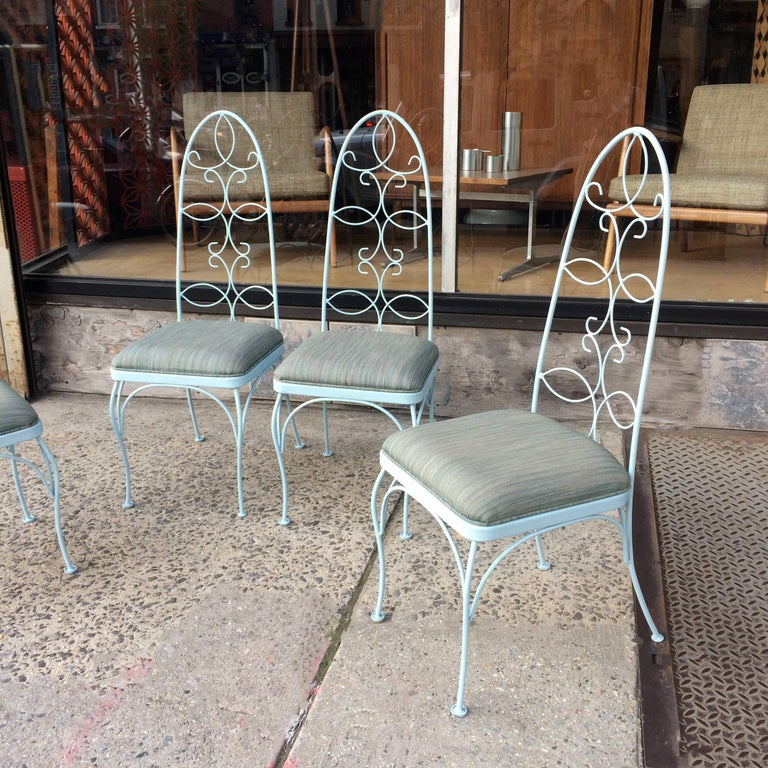 American Mid Century High Back Wrought Iron Patio Garden Dining Chair Set For Sale