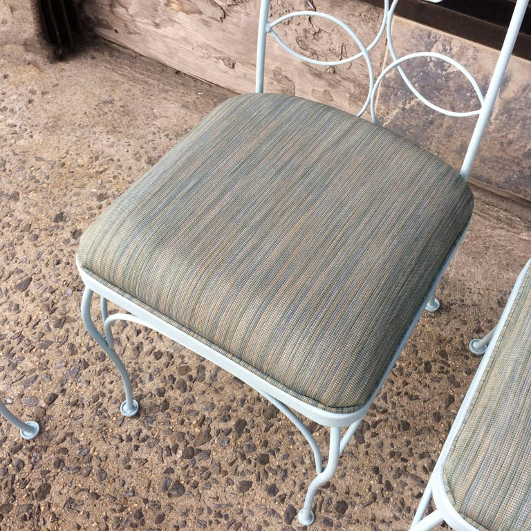 20th Century Mid Century High Back Wrought Iron Patio Garden Dining Chair Set For Sale