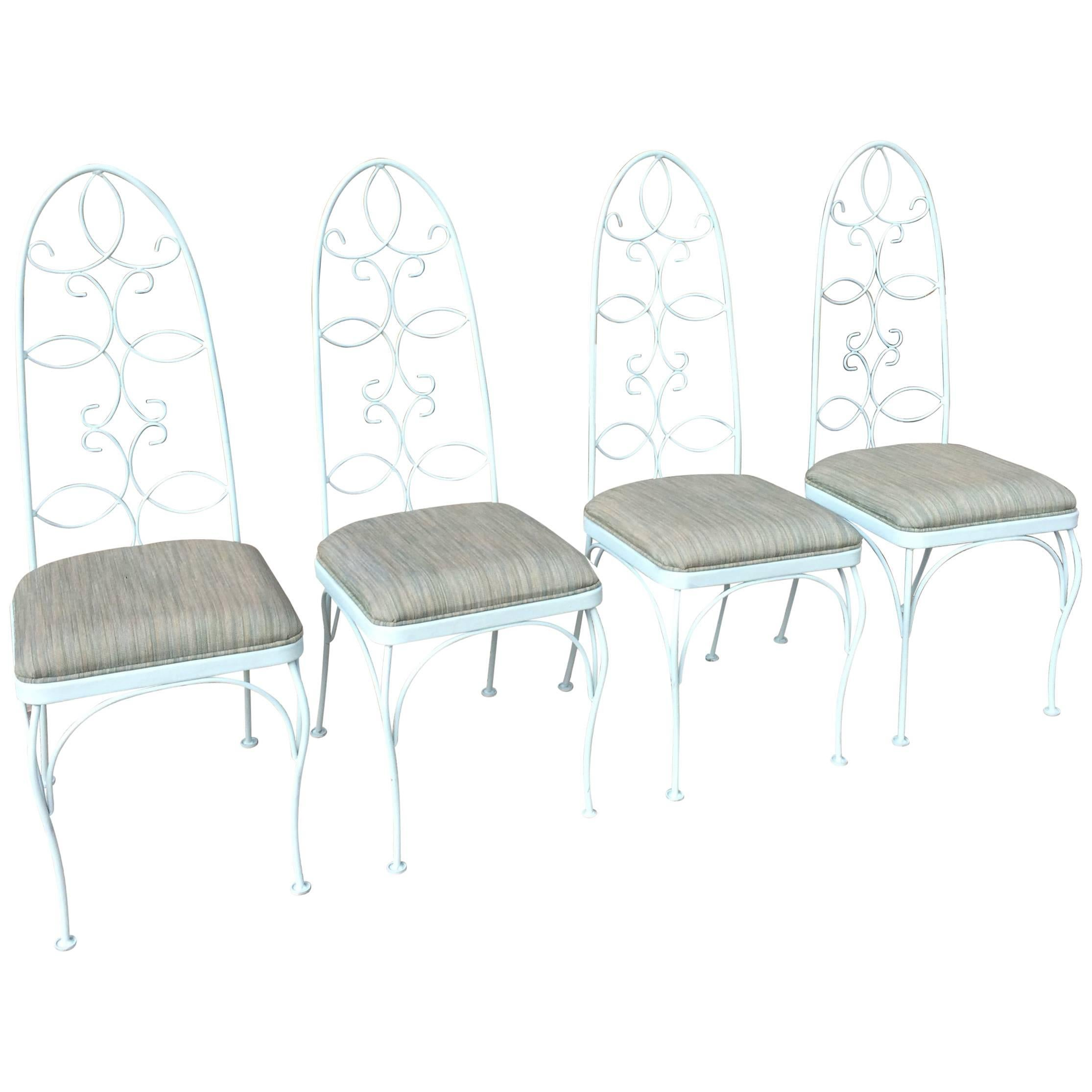 Mid Century High Back Wrought Iron Patio Garden Dining Chair Set