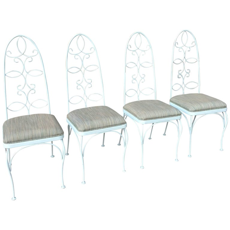 Mid Century High Back Wrought Iron Patio Garden Dining Chair Set For Sale