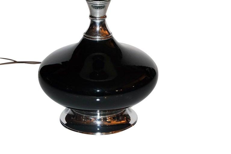 American Midcentury Hollywood Regency Black Ceramic Chrome Table Lamp For Sale