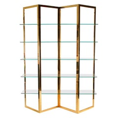 Mid Century Hollywood Regency Brass & Glass Etagere, Shelving Unit or Wall Unit