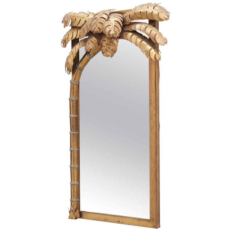 Midcentury Hollywood Regency Brass Palm Tree Mirror and Lamp by Maison Jansen For Sale