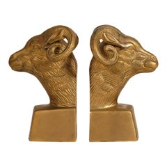 Midcentury Hollywood Regency Brass Rams Head Book Ends