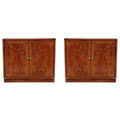 Midcentury Hollywood Regency Burl Wood Nightstands, End Tables, or Cabinets