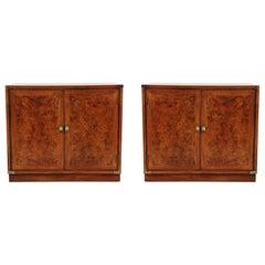 Midcentury Hollywood Regency Burl Wood Nightstands, End Tables, or Cabinets