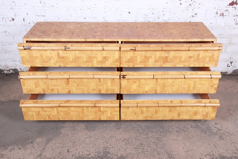 Midcentury Hollywood Regency Chinoiserie Bamboo Parquetry Dresser or Credenza For Sale 5