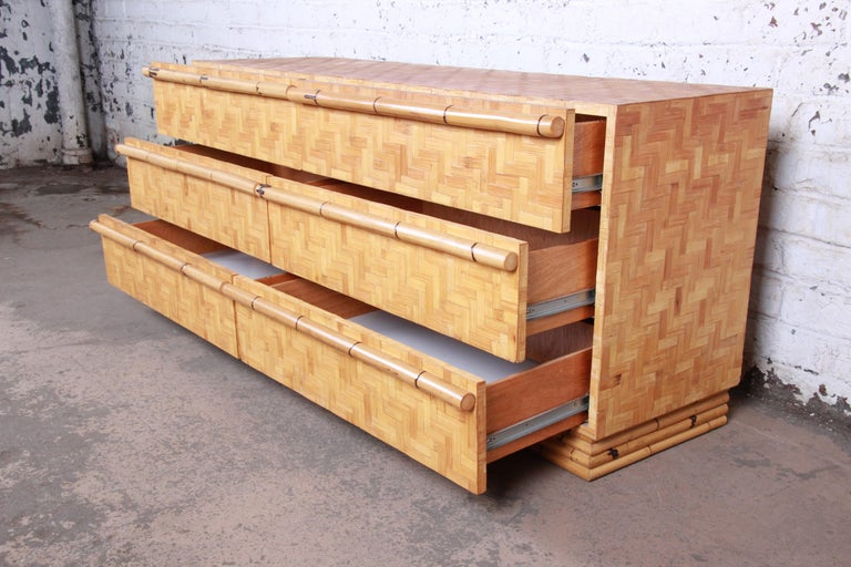 Midcentury Hollywood Regency Chinoiserie Bamboo Parquetry Dresser or Credenza For Sale 6