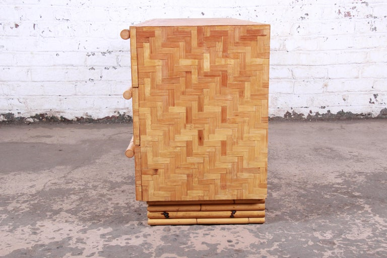 Midcentury Hollywood Regency Chinoiserie Bamboo Parquetry Dresser or Credenza For Sale 8